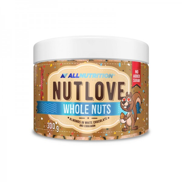 Nutlove Whole Nuts 300g. - Almonds In White Chocolate And Cinnamon AllNutrition