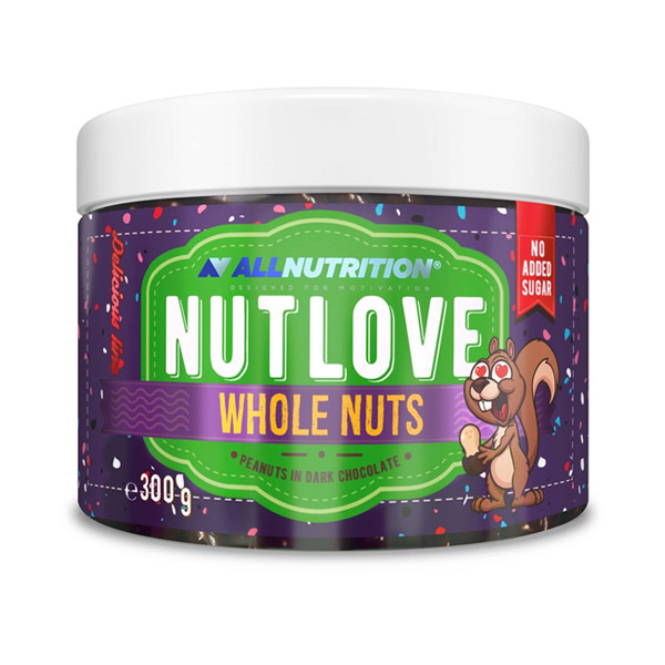 Nut Love Whole Nuts 300g. Peanuts in Dark Chocolate AllNutrition